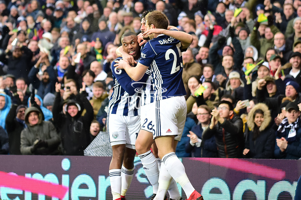 The West Bromwich Albion players  celebrate West Bromwich Albion defender (on loan from Al Ahly) Ahmed Hegazi (26) opening goal during the Premier League match between West Bromwich Albion and Southampton at The Hawthorns, West Bromwich, England on 3 February 2018. Picture by Dennis Goodwin.