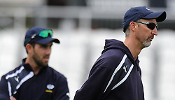Yorkshire's Glen Maxwell and Head Coach Jason Gillespie. Photo mandatory by-line: Harry Trump/JMP - Mobile: 07966 386802 - 24/05/15 - SPORT - CRICKET - LVCC County Championship - Division 1 - Day 1- Somerset v Sussex Sharks - The County Ground, Taunton, England.