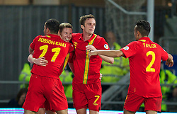 11.10.2013, City Stadion, Cardiff, WAL, FIFA WM Qualifikation, Wales vs Mazedonien, Gruppe A, im Bild Wales' Simon Church celebrates scoring the first goal against Macedonia with team-mates during the FIFA World Cup Qualifier Group A Match between Wales and Macedonia at the City Stadium, Cardiff, Wales on 2013/10/11. EXPA Pictures © 2013, PhotoCredit: EXPA/ Propagandaphoto/ David Rawcliffe<br /> <br /> ***** ATTENTION - OUT OF ENG, GBR, UK *****