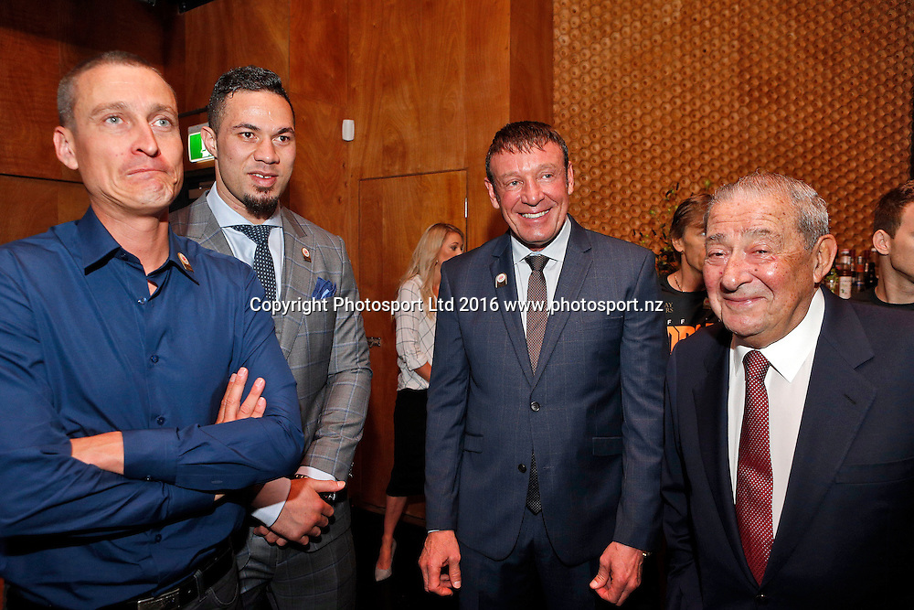 (L to R) David Higgins, Joseph Parker, Kevin Barry and Bob Arum, Final press conference before the December 10, Parker v Ruiz, WBO world boxing heavyweight title fight. Rec Bar, Auckland. 8 December 2016 / www.photosport.nz