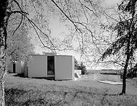 Black and white picture of House Dellacher in Oberwart, Burgenland, Austria<br /> Architect: Raimund Abraham<br /> Built around 1967