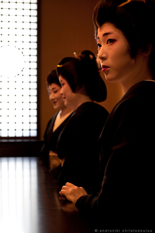 Tokyo geishas gathered after their anual geisha performance at a theater in Shimbashi area of Tokyo.