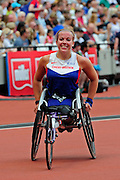 Hannah Cockroft after the 100m during the Muller Anniversary Games at the Stadium, Queen Elizabeth Olympic Park, London, United Kingdom on 23rd July 2016. Photo by Jon Bromley.