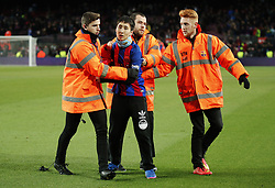 December 17, 2017 - Barcelona, Catalonia, Spain - spontaneous jump on the pitch during the La Liga match between FC Barcelona v Real Club Deportivo de La Coruna, in Barcelona, on December 17, 2017. (Credit Image: © Joan Valls/NurPhoto via ZUMA Press)