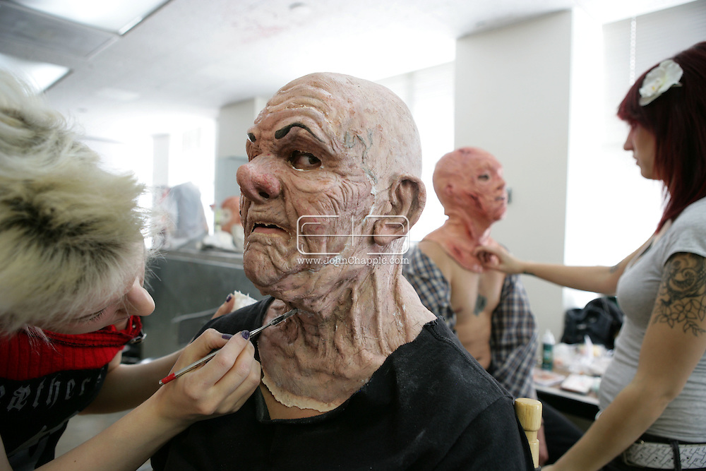 23rd October 2008, Los Angeles, California. Extreme Makeover!  Students at the Cinema Makeup School in Hollywood California, graduate from a special effects make-up course.  In this part of the course, movie industry hopefuls learn to design and create latex masks over a period of four weeks, before demonstrating their competence by transforming models into drag queens, aliens and monsters in only eight hours. Pictured is: Bobbie Zabielski (22) as an old drag queen. PHOTO © JOHN CHAPPLE / REBEL IMAGES.john@chapple.biz    www.chapple.biz.(001) 310 570 9100.