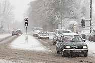 Heavy overnight snow causes disruption on the A4 in north Wiltshire between Bath and Chippenham. January 18 2013.  Corsham, UK..Photo by: Mark Chappell/i-Images