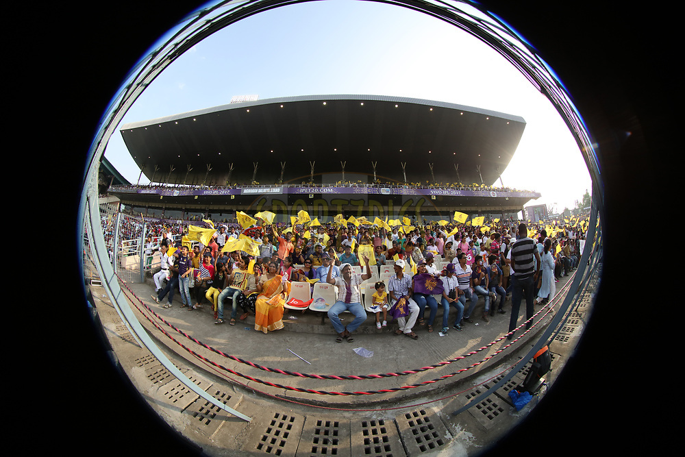 fans during match 32 of the Vivo 2017 Indian Premier League between the Kolkata Knight Riders and the Delhi Daredevils   held at the Eden Gardens Stadium in Kolkata, India on the 28th April 2017<br /> <br /> Photo by Saikat Das - Sportzpics - IPL