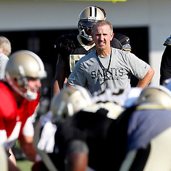 July 29, 2012; Metairie, LA, USA; New Orleans Saints defensive coordinator Steve Spagnuolo watches over team drills during a training camp practice at the team's practice facility. Mandatory Credit: Derick E. Hingle-US PRESSWIRE