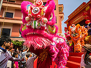 "08 FEBRUARY 2016 - BANGKOK, THAILAND:  The start of the lion dancers' parade in Bangkok's Chinatown district during the celebration of the Lunar New Year. Chinese New Year is also called Lunar New Year or Tet (in Vietnamese communities). This year is the ""Year of the Monkey."" Thailand has the largest overseas Chinese population in the world; about 14 percent of Thais are of Chinese ancestry and some Chinese holidays, especially Chinese New Year, are widely celebrated in Thailand.      PHOTO BY JACK KURTZ"