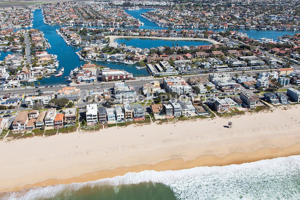 Sunset Beach Aerial Stock Photo in Huntington Beach