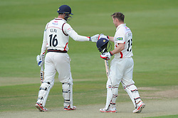 Jordan Clark of Lancashire congratulates his team mate Steven Croft after he scores a half-century - Photo mandatory by-line: Dougie Allward/JMP - Mobile: 07966 386802 - 07/06/2015 - SPORT - Football - Bristol - County Ground - Gloucestershire Cricket v Lancashire Cricket - LV= County Championship