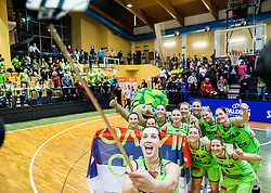 Eva Lisec of Slovenia and other players of Slovenia celebrate after winning and qualifying during basketball match between Women National Teams of Slovenia and Lithuania in Qualifications of EuroBasket Women 2017, on November 19, 2016 in Gimnazija Celje, Slovenia. Photo by Vid Ponikvar / Sportida