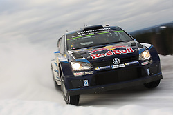 15.02.2015,  Karlstad, SWE, FIA, WRC, Schweden Rallye, im Bild Sebastien Ogier/Julien Ingrassia (Volkswagen Motorsport/Polo R WRC) // during the WRC Sweden Rallye at the Karlstad in Karlstad, Sweden on 2015/02/15. EXPA Pictures © 2015, PhotoCredit: EXPA/ Eibner-Pressefoto/ Bermel<br /> <br /> *****ATTENTION - OUT of GER*****