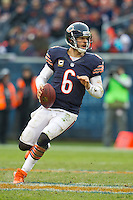 25 November 2012: Quarterback (6) Jay Cutler of the Chicago Bears rolls out to pass against the Minnesota Vikings during the second half of the Bears 28-10 victory over the Vikings in an NFL football game at Soldier Field in Chicago, IL.
