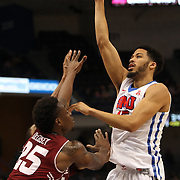Cannen Cunningham, (right), SMU, shoots ofer Quenton DeCosey, Temple, during the Temple Vs SMU Semi Final game at the American Athletic Conference Men's College Basketball Championships 2015 at the XL Center, Hartford, Connecticut, USA. 14th March 2015. Photo Tim Clayton