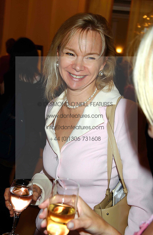 The COUNTESS OF DERBY at a lunch and fashion show by Bruce Oldfield in aid of Barnados and held at Claridges, Brook Street, London W1 on 22nd September 2004.<br />