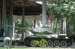 Army tank outside the Museum of the Revolution; Havana; Cuba; symbolising fight for freedom against Batista and the United States of America,