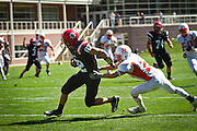 Robert Seer '12 evades Macalester's David Melms '13 on his way to the endzone for one of his four touchdown catches in Grinnell's Saturday home opener.