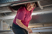 Mary Olson, owner of Airlie Winery and Vineyard hard at work during harvest.