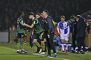 Doncaster Rovers Benjamin Whiteman (12) comes on for   Doncaster Rovers Rodney Kongolo (7) during the EFL Sky Bet League 1 match between Bristol Rovers and Doncaster Rovers at the Memorial Stadium, Bristol, England on 23 December 2017. Photo by Gary Learmonth.