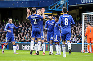 Diego Costa of Chelsea scores the opening goal and celebrates during the The FA Cup match between Chelsea and Scunthorpe United at Stamford Bridge, London, England on 10 January 2016. Photo by Ken Sparks.