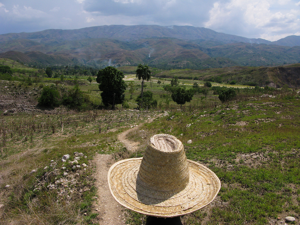 A man with a straw hat walks on a path.