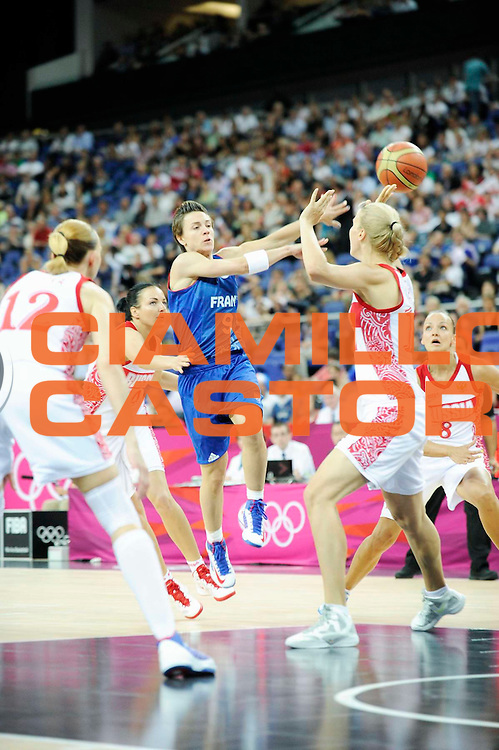 DESCRIZIONE : Basketball Jeux Olympiques Londres Demi finale<br /> GIOCATORE : Dumerc Celine<br /> SQUADRA : France  FEMME<br /> EVENTO : Jeux Olympiques<br /> GARA : France Russie<br /> DATA : 09 08 2012<br /> CATEGORIA : Basketball Jeux Olympiques<br /> SPORT : Basketball<br /> AUTORE : JF Molliere <br /> Galleria : France JEUX OLYMPIQUES 2012 Action<br /> Fotonotizia : Jeux Olympiques Londres demi Finale Greenwich Northwest Arena<br /> Predefinita :