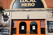 closure notice on 'Local Hero' pub near the Leicester City Football ground. Shops, bars, pubs, closures due to the Covid_19 Coronavirus in Leicester, United Kingdom on 22 March 2020.