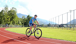 01.07.2016, Athletic Area, Schladming, AUT, U19 EURO, Vorbereitung Deutschland, DFB U19 Junioren, im Bild Max Besuschkow (VfB Stuttgart, Deutschland U19) unterwegs mit einem Mountainbike // during a training camp of Team Germany for preparation for the UEFA European Under-19 Championship at the Athletic Area, Austria on 2016/07/01. EXPA Pictures © 2016, PhotoCredit: EXPA/ Martin Huber