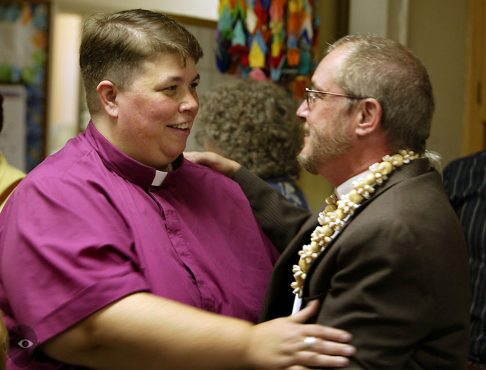 Reverend David Weekley of Epworth United Methodist Church happily chats after the service with Rev. Tara Wilkins, a Christian pastor with the Community of Welcoming Congregations. Weekley came out to his congregation at Sunday's worship as the second transgender Methodist clergy in the nation.  His church is 95% Japanese-American (Epworth United Methodist Church is historically Japanese-American) and none of them know that he was born a she and had transitioning surgery 34 years ago.  This is going to be a big shock to the community and potentially hazardous to Weekley, as the Methodist church does not support LGBTQ rights.