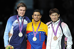 01.08.2012, ExCeL Exhibition Centre, London, GBR, Olympia 2012, Fechten, im Bild Podium Silver medal PIASECKI Bartosz (NOR),Gold medal LIMARDO GASCON Ruben (VEN), Bronze medal JUNG Jinsun( KOR) // during fencing, at the 2012 Summer Olympics at ExCeL Exhibition Centre, London, United Kingdom on 2012/08/01. EXPA Pictures © 2012, PhotoCredit: EXPA/ Insidefoto/ Giovanni Minozzi ATTENTION - for AUT, SLO, CRO, SRB, SUI and SWE only *****