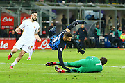 Alisson of AS Roma in duel with Mauro Icardi of Inter during the Italian championship Serie A football match between FC Internazionale and AS Roma on January 21, 2018 at Giuseppe Meazza stadium in Milan, Italy - Photo Morgese - Rossini / ProSportsImages / DPPI