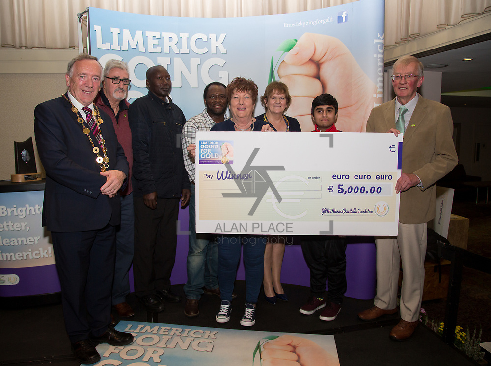 10.10. 2017. <br /> Mayor of the City and County of Limerick Cllr Stephen Keary and Noel Earlie, JP McManus Charitable Foundation presented  the Going for Gold 2017 Challenge Category 3rd place to South Limerick City (€5000).<br /> <br /> <br /> Limerick Going for Gold, which is sponsored by the JP McManus Charitable Foundation, has a total prize pool of over €75,000.  It is organised by Limerick City and County Council and supported by Limerick's Live 95FM, The Limerick Leader and The Limerick Chronicle, The Limerick Post, Parkway Shopping Centre, I Love Limerick and Southern Marketing Media & Design. Picture: Alan Place