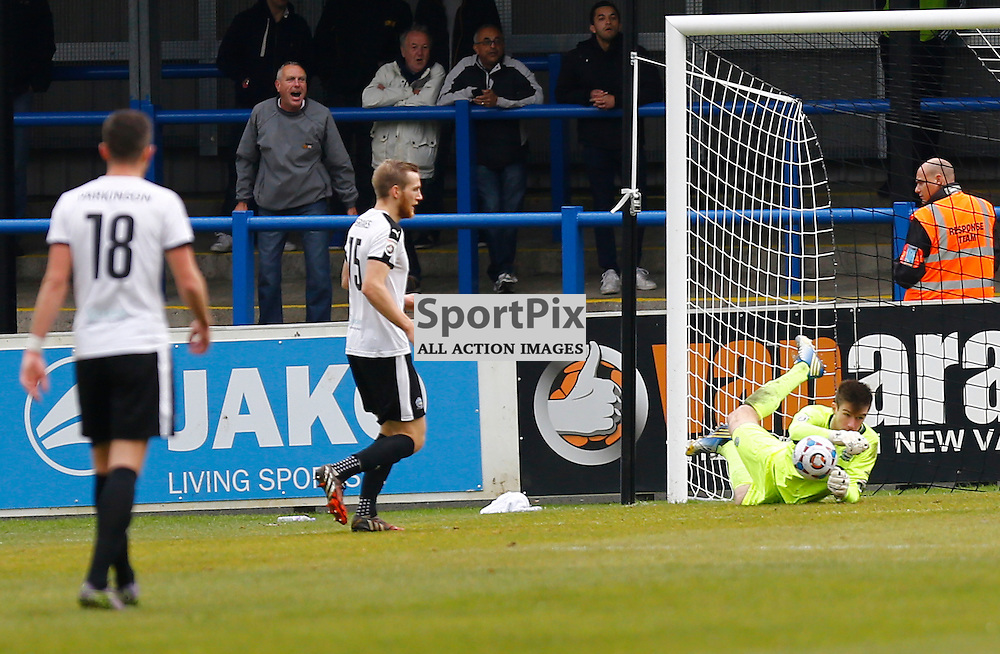 Dover's keeper Mitchell Walker (1) made to make a rare save. Dover Athletic against Macclesfield Town in the Vanorama Conference Premier. At Crabble Stadium, Dover, Kent. (c) Matt Bristow | SportPix.org.uk