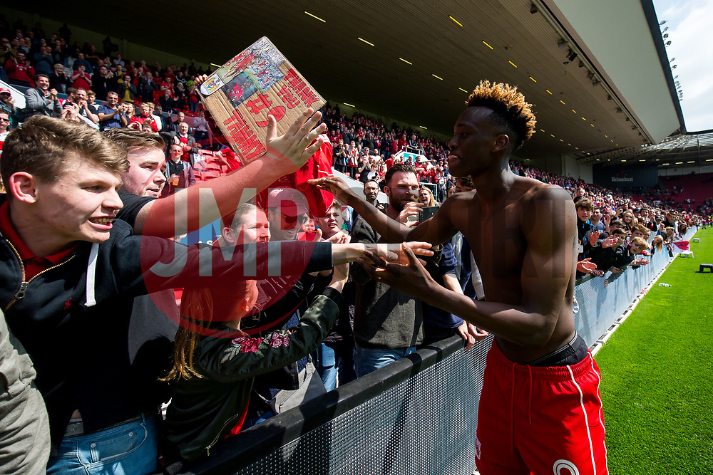Tammy Abraham of Bristol City thanks the fans at the conclusion of a hugely succesful season long loan from Chelsea - Rogan Thomson/JMP - 07/05/2017 - Ashton Gate Stadium - Bristol, England - Bristol City v Birmingham City - Sky Bet Championship.