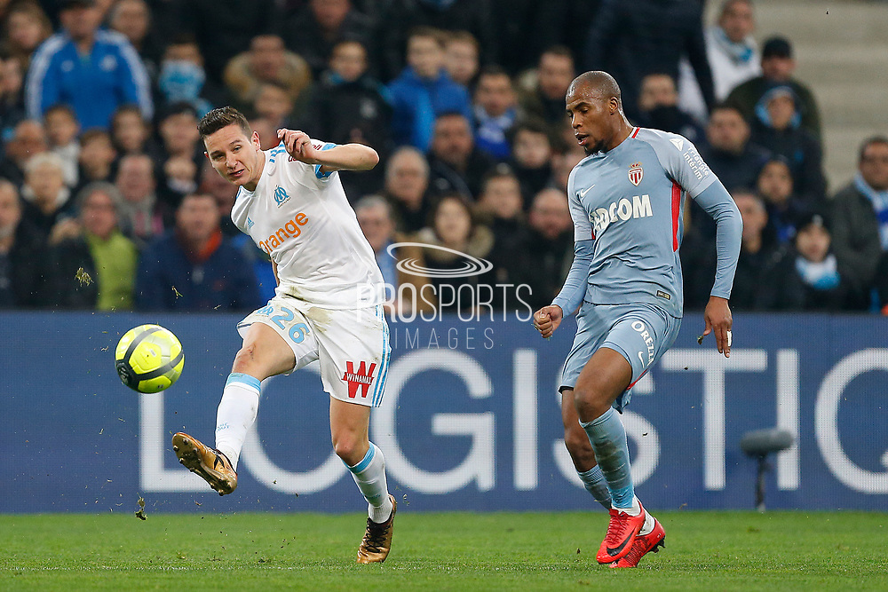 Olympique de Marseille's French forward Florian Thauvin kicks the ball during the French Championship Ligue 1 football match between Olympique de Marseille and AS Monaco on January 28, 2018 at the Orange Velodrome stadium in Marseille, France - Photo Benjamin Cremel / ProSportsImages / DPPI
