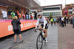 Amalie Dideriksen makes her way to sign in at Boels Rental Ladies Tour Stage 4 a 121.4 km road race from Gennep to Weert, Netherlands on September 1, 2017. (Photo by Sean Robinson/Velofocus)