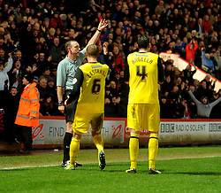Watford's Gabriele Angella gets sent off.  - Photo mandatory by-line: Alex James/JMP - Tel: Mobile: 07966 386802 18/01/2014 - SPORT - FOOTBALL - Goldsands Stadium - Bournemouth - Bournemouth v Watford - Sky Bet Championship