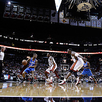16 March 2011: Miami Heat point guard Mario Chalmers (15) defends on Oklahoma City Thunder point guard Eric Maynor (6) during the Oklahoma City Thunder 96-85 victory over the Miami Heat at the AmericanAirlines Arena, Miami, Florida, USA.