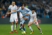 Olympique de Marseille's French midfielder Morgan Sanson vies with AS Monaco's Algerian midfielder Rachid Ghezzal during the French Championship Ligue 1 football match between Olympique de Marseille and AS Monaco on January 28, 2018 at the Orange Velodrome stadium in Marseille, France - Photo Benjamin Cremel / ProSportsImages / DPPI