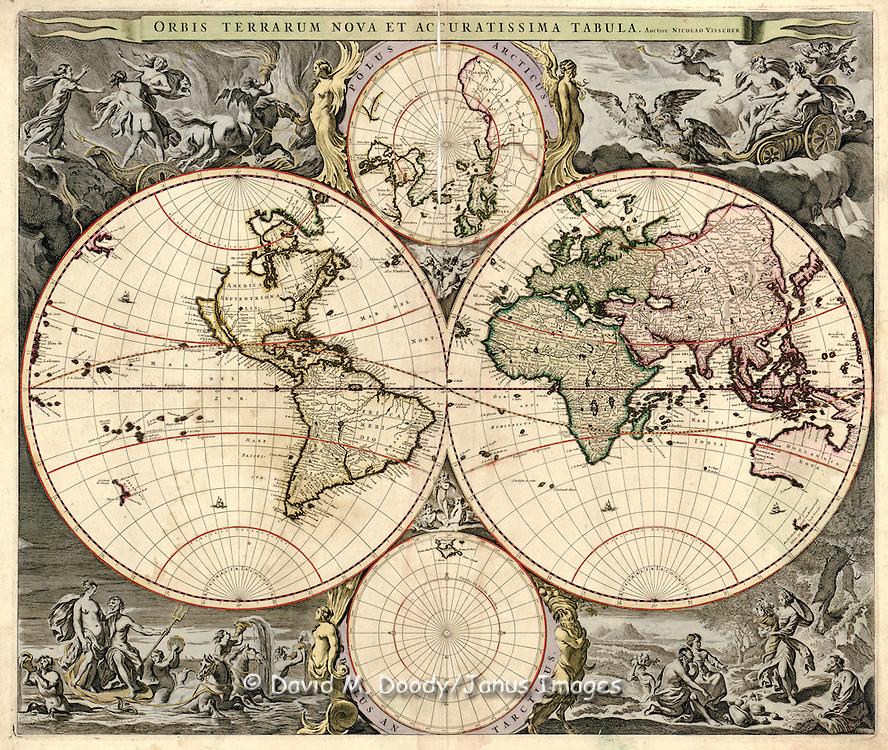 Orbis terrarum nova et accuratissima tabula / auctore Nicolao Visscher..Visscher, Nicolaes, 1649-1702..Maps.CREATED/PUBLISHED.[Amsterdam?] : Nicolao Visscher, [1690?]........