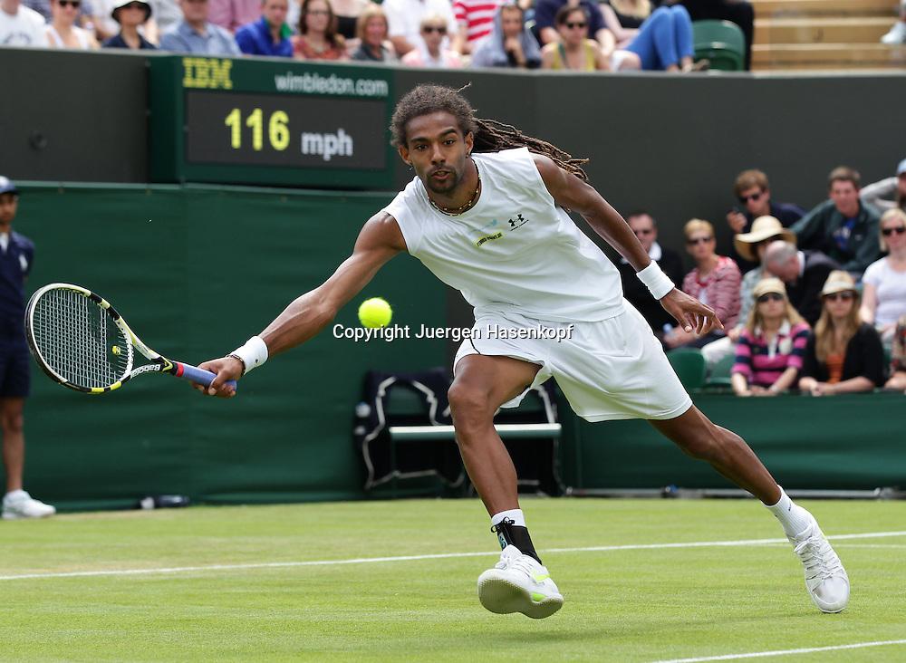 Wimbledon Championships 2013, AELTC,London,<br /> ITF Grand Slam Tennis Tournament,<br /> Dustin Brown (GER),Aktion,Einzelbild,<br /> Ganzkoerper,Querformat,