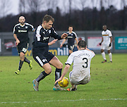 Dundee&rsquo;s Greg Stewart takes on Dumbarton&rsquo;s Mark Docherty - Dumbarton v Dundee, William Hill Scottish Cup fifth round at The Cheaper Insurance Direct Stadium <br /> <br />  - &copy; David Young - www.davidyoungphoto.co.uk - email: davidyoungphoto@gmail.com