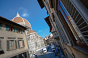A balcony view of the Duomo down Via de Proconsolo, Florence, Italy