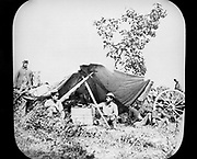 One of General Grant's Unionist (northern) Field Telegraph stations during the American Civil War 1861-1865. Photograph.