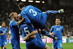 25.03.2011, SRC Stozice, Ljubljana, SLO, EURO 2012 Qualifikation, Slovenia vs Italy, im Bild Esultanza di Thiago Motta dopo il gol.Thiago Motta celebrates scoring. EXPA Pictures © 2011, PhotoCredit: EXPA/ InsideFoto/ Nicolo Zangirolami +++++ ATTENTION - FOR AUSTRIA/AUT, SLOVENIA/SLO, SERBIA/SRB an CROATIA/CRO CLIENT ONLY +++++