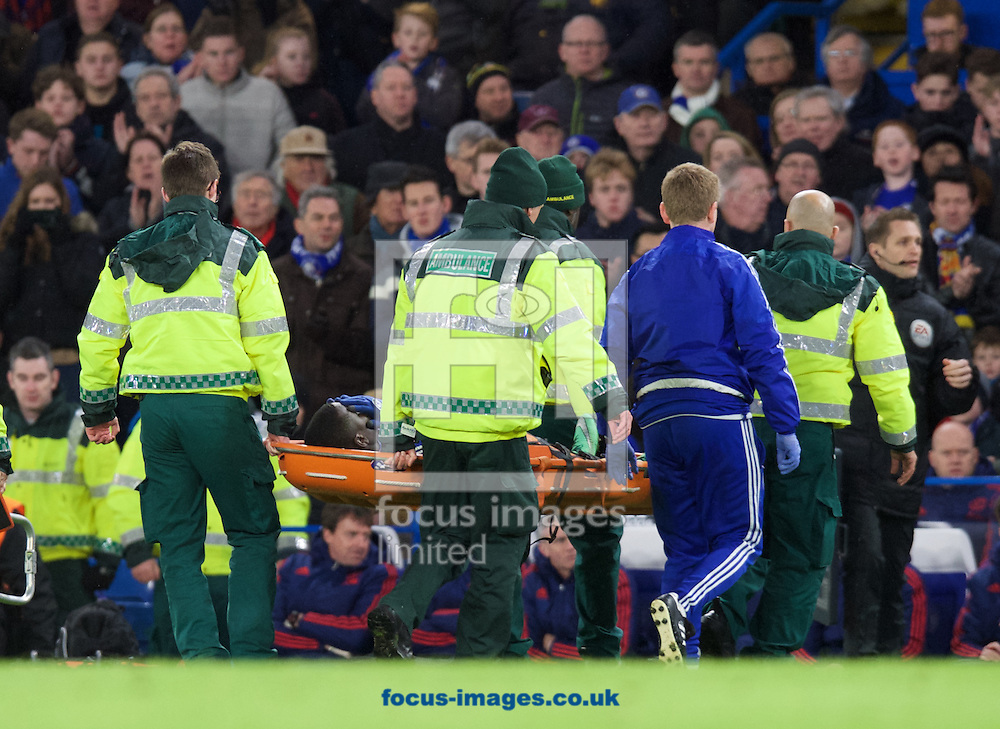 Kurt Zouma of Chelsea is carried off after he is injured during the Barclays Premier League match at Stamford Bridge, London<br /> Picture by Alan Stanford/Focus Images Ltd +44 7915 056117<br /> 07/02/2016