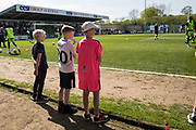 Young fans watch the warm up during the EFL Sky Bet League 2 match between Forest Green Rovers and Grimsby Town FC at the New Lawn, Forest Green, United Kingdom on 5 May 2018. Picture by Shane Healey.
