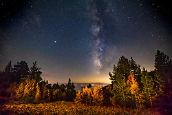 """""""Milky Way Over Lake Tahoe 5"""" - Night time photograph of stars and the Milky Way above an aspen grove and Lake Tahoe."""