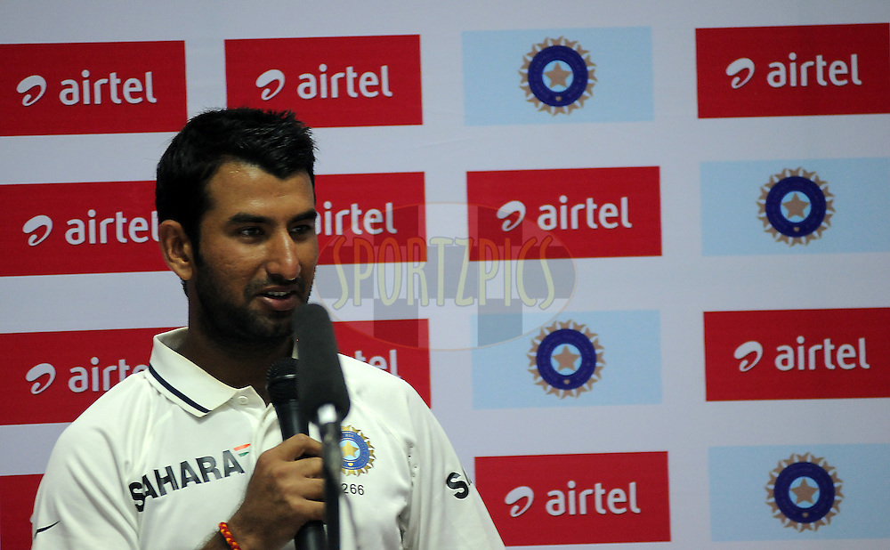 Cheteshwar Pujara of India during a press conference after the days play on day one of the first test match between India and New Zealand held at The Rajiv Gandhi International Stadium in Hyderabad, India on the 23rd August 2012..Photo by: Pal Pillai/BCCI/SPORTZPICS